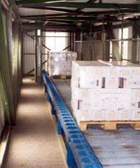 systém válečkových tratí pro příjem a expedici výrobků na EURO paletách; součástí dopravní trasy může být nákladní bezobslužný výtah, propojující úroveň výrobní haly a skladu,a část procházející ocelovým opláštěným mostem
