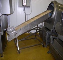 potravinářský pásový dopravník, s pojízdným podstavcem, pro dopravu masa k dalšímu zpracování